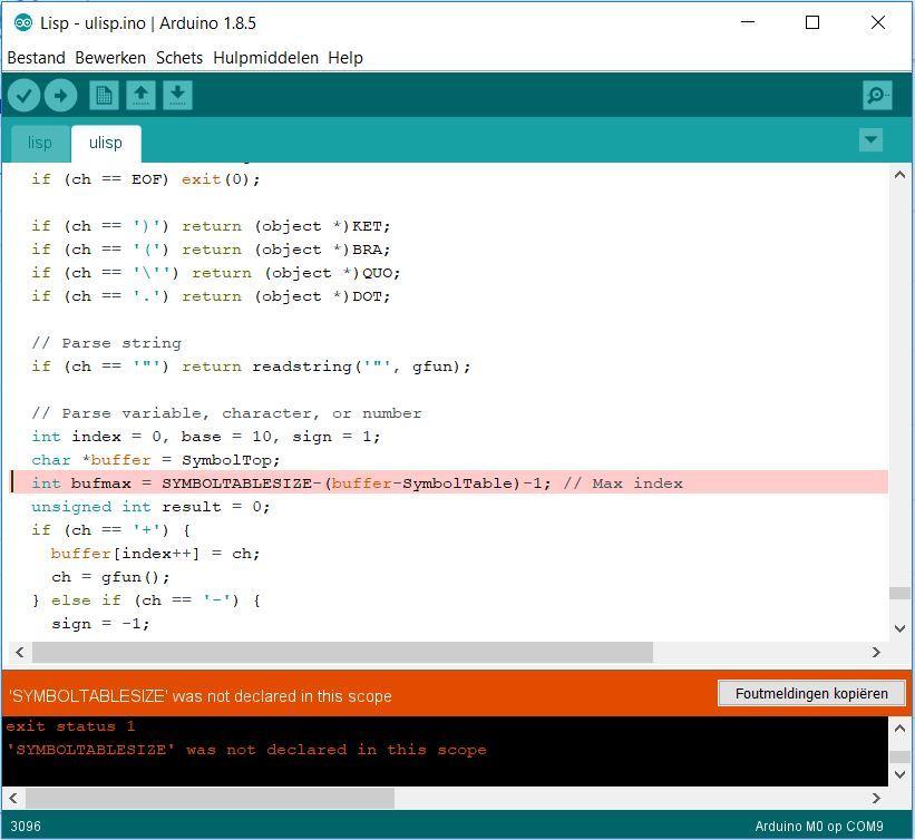 Compiler error ulisp sketch for arduino zero m